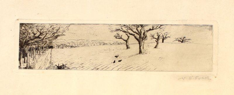 8263007 Orig.-Radierung handsigniert Wilhelm Oskar Prack Obstwiese Landschaft