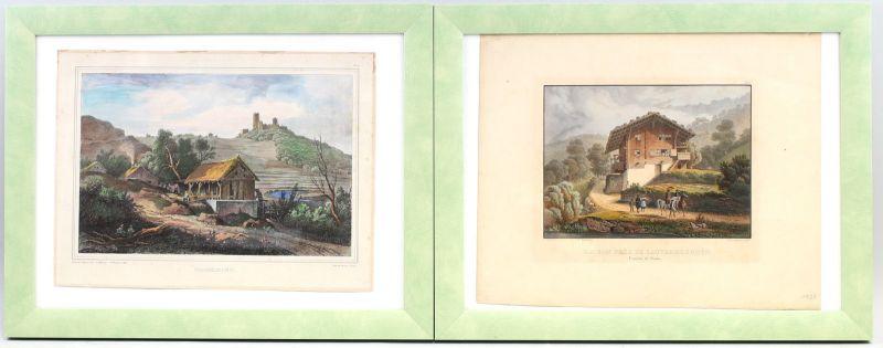 8263003 Paar kolorierte Lithographien Ansichten Lauterbrunnen Casselburg 19. Jh.