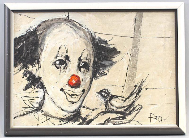 8260053 Öl-Gemälde sign. Bildnis eines Clowns Porträt Kopf um 1990