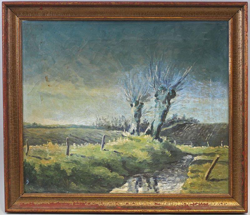 8260025 Öl-Gemälde signiert Nielsen Landschaft bei Aabenraa Dänemark Weide 1935