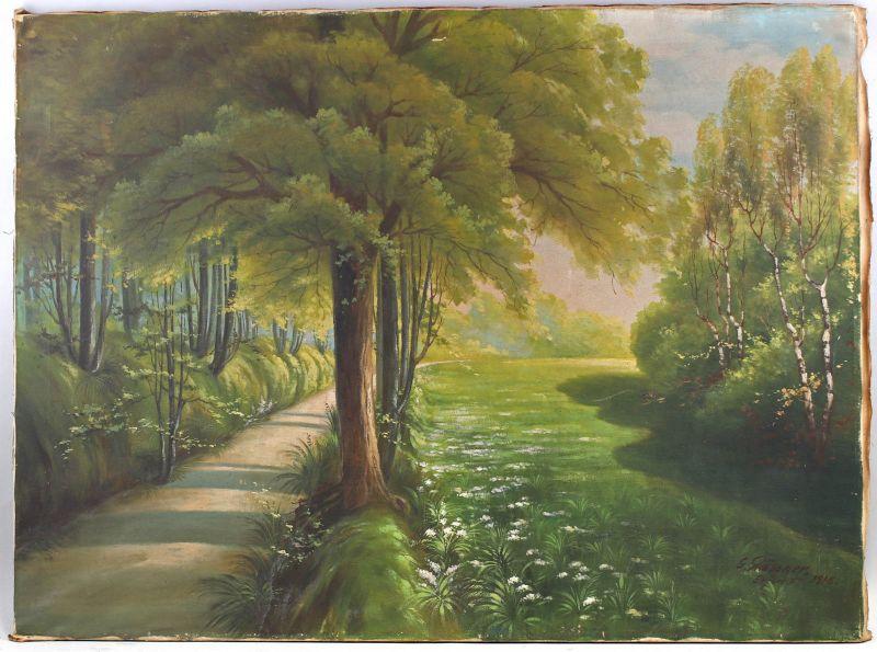 8260016 Öl-Gemälde signiert Glässner Erfurt 1916 Waldweg Allee