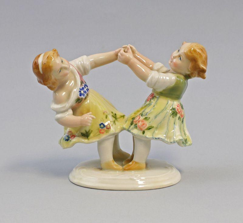 8240046 Porzellan-Figur Tanzendes Kinder-Paar Ens Thüringen Mühlenmarke