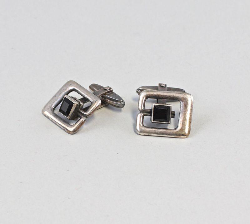 8225135 Paar antike Manschettenknöpfe Onyx Art déco 835er Silber