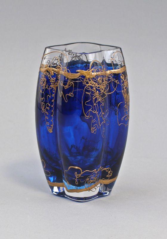 8235035 Glas Vase Jugendstil goldbemalt signiert