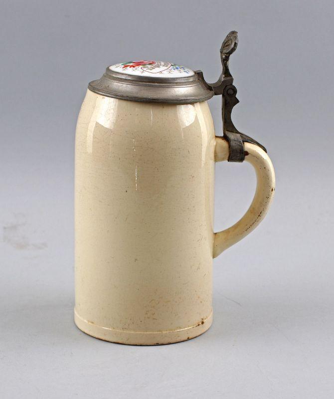 8248025 Antiker Bierkrug Porzellandeckel