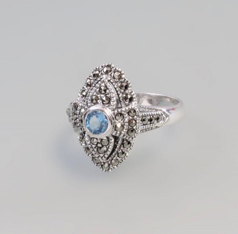 925er Silber Blautopas Markasiten Ring  Gr. 58 9927574