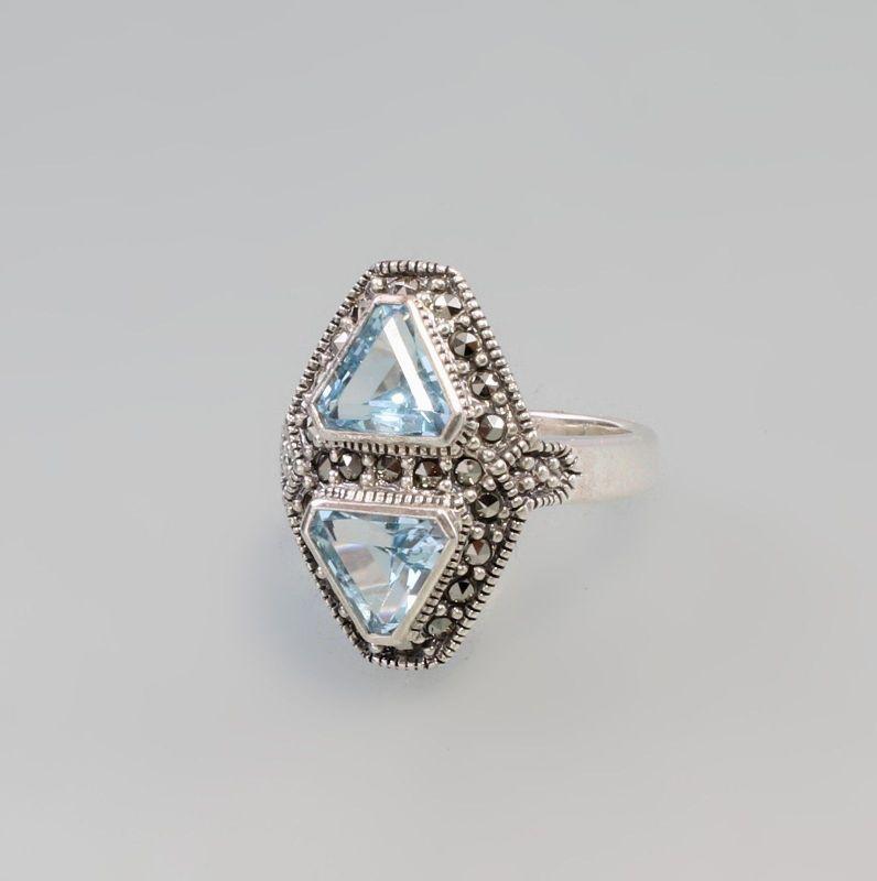 925er Silber Blautopas Markasiten Ring  Gr. 56 9927583
