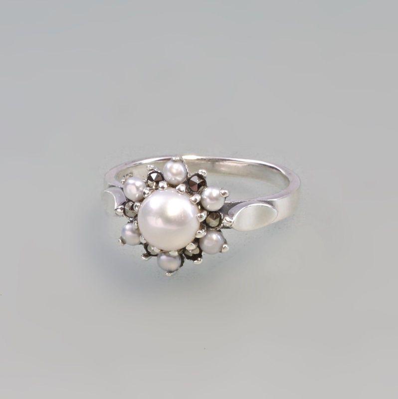 925er Silber Perlen Markasiten Ring  Gr. 55 9927573