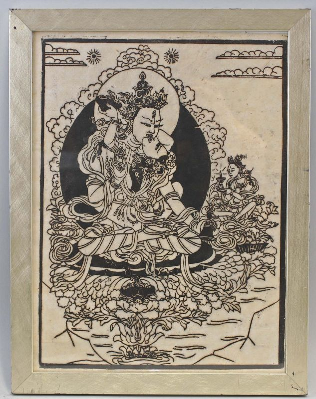 8239050 Holzschnitt Buddhistisches Motiv China Bodhisattva auf Lotosthron 0
