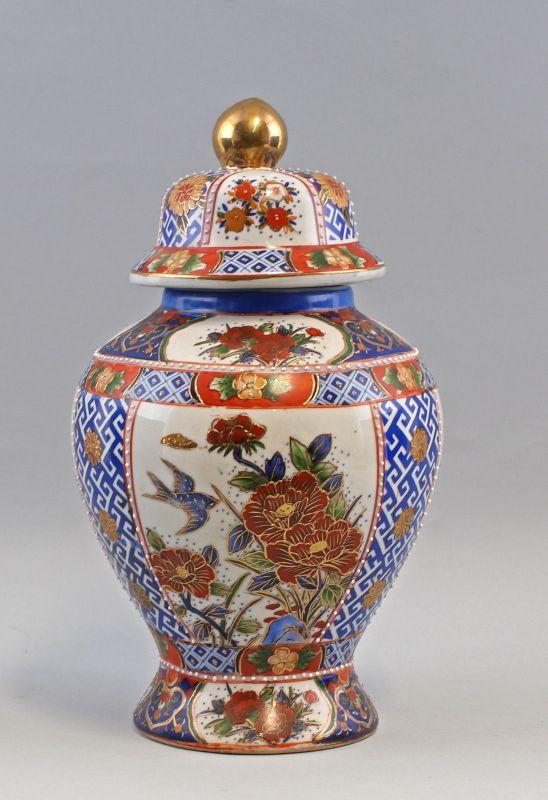 8239032 Asiatische Deckel- Vase H35cm