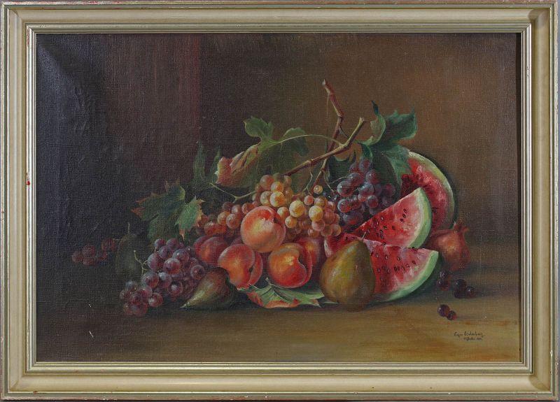8260052 Öl-Gemälde sign. Eugen Lindenberg Früchte-Stillleben 1909 Melonen 0