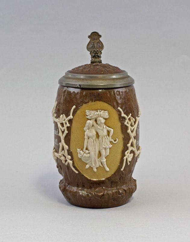 Keramik Panolith-Bierkrug Mettlach 19.Jh. Zinndeckel Villeroy&Boch 99848001 0