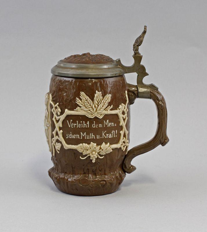 Keramik Panolith-Bierkrug Mettlach 19.Jh. Zinndeckel Villeroy&Boch 99848001 1