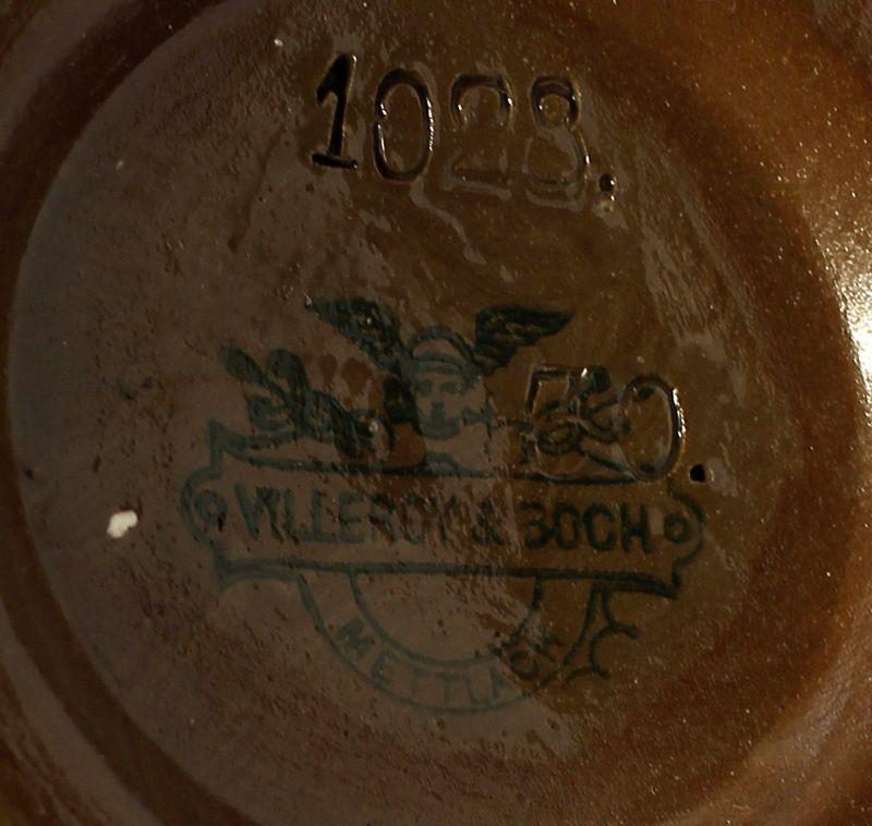 Keramik Panolith-Bierkrug Mettlach 19.Jh. Zinndeckel Villeroy&Boch 99848001 2