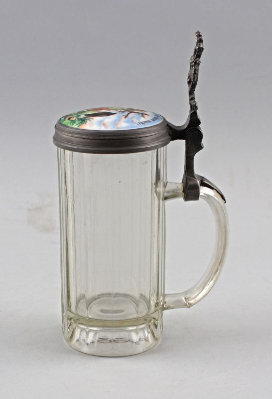 8248022 Glas-Bierkrug mit Porzellandeckel Jagdmotiv