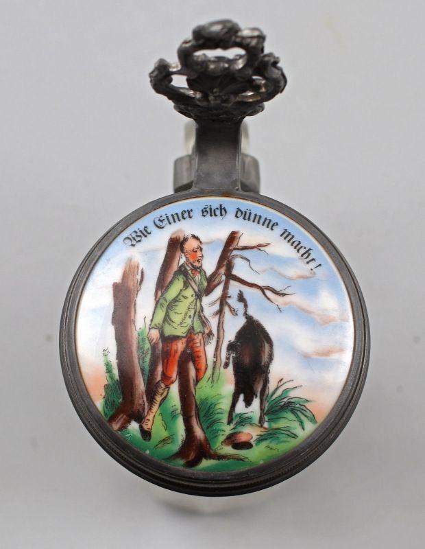 8248022 Glas-Bierkrug mit Porzellandeckel Jagdmotiv 1