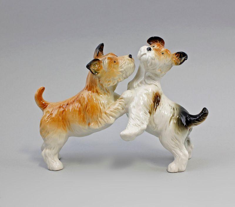 Ens Porzellan Figur Terrier Paar gefleckt spielend Hund 22x16cm 9941586#