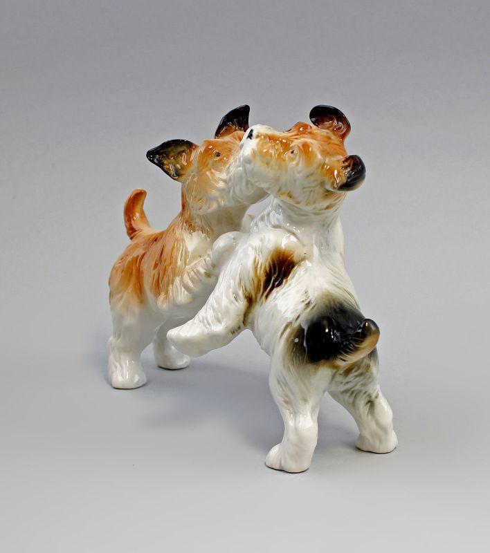 Ens Porzellan Figur Terrier Paar gefleckt spielend Hund 22x16cm 9941586# 1