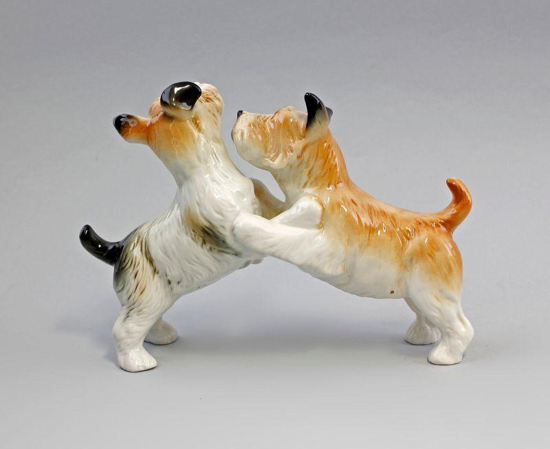 Ens Porzellan Figur Terrier Paar gefleckt spielend Hund 22x16cm 9941586# 2