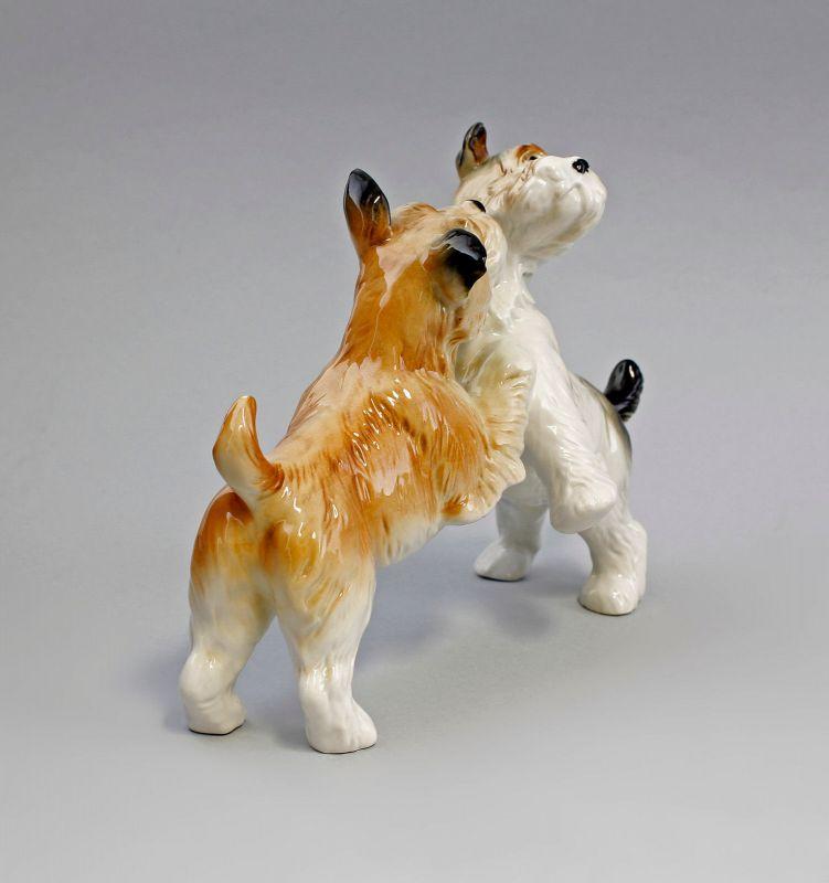 Ens Porzellan Figur Terrier Paar gefleckt spielend Hund 22x16cm 9941586# 3