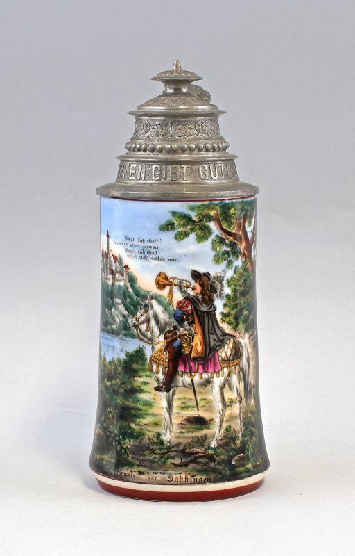 8248005 Bierkrug Trompeter von Sakkingen um 1900 Porzellan Bodenlithophanie 0