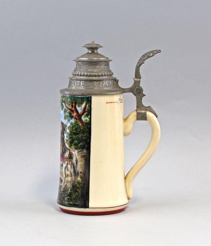 8248005 Bierkrug Trompeter von Sakkingen um 1900 Porzellan Bodenlithophanie 1