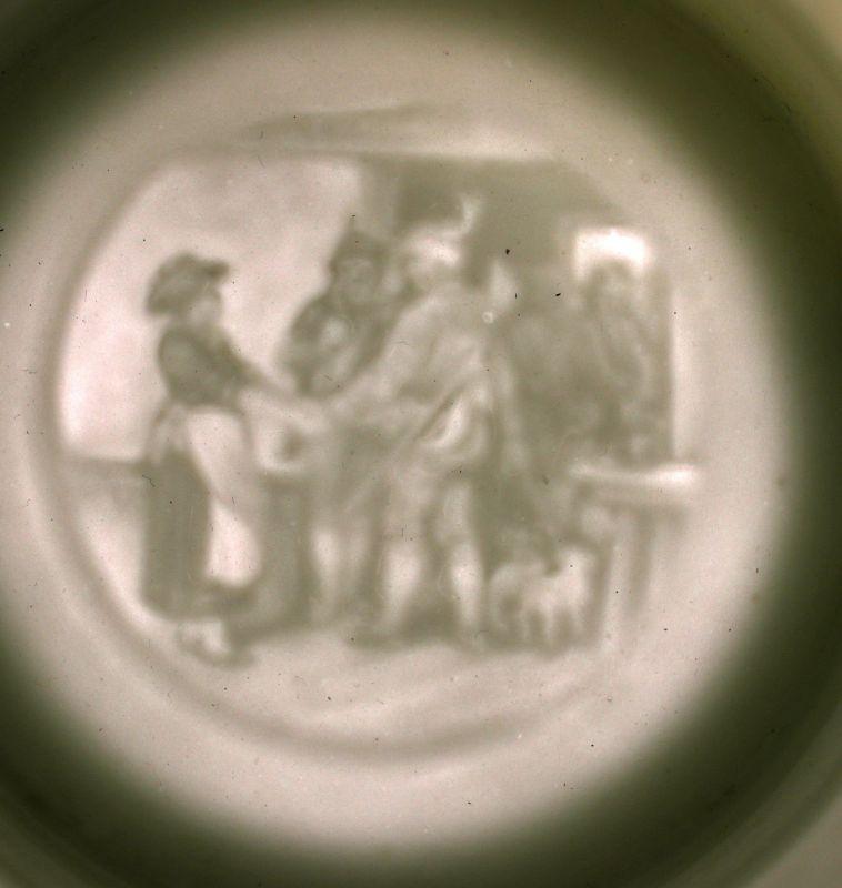 8248005 Bierkrug Trompeter von Sakkingen um 1900 Porzellan Bodenlithophanie 2