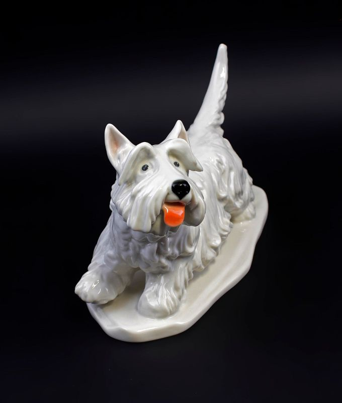 Ens Porzellan Figur Terrier hell hebt Pfote Hund 23x11x15cm 9941584# 1