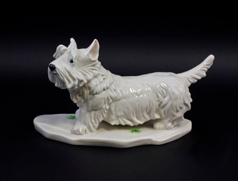 Ens Porzellan Figur Terrier hell Hund 23x11x15cm 9941583#