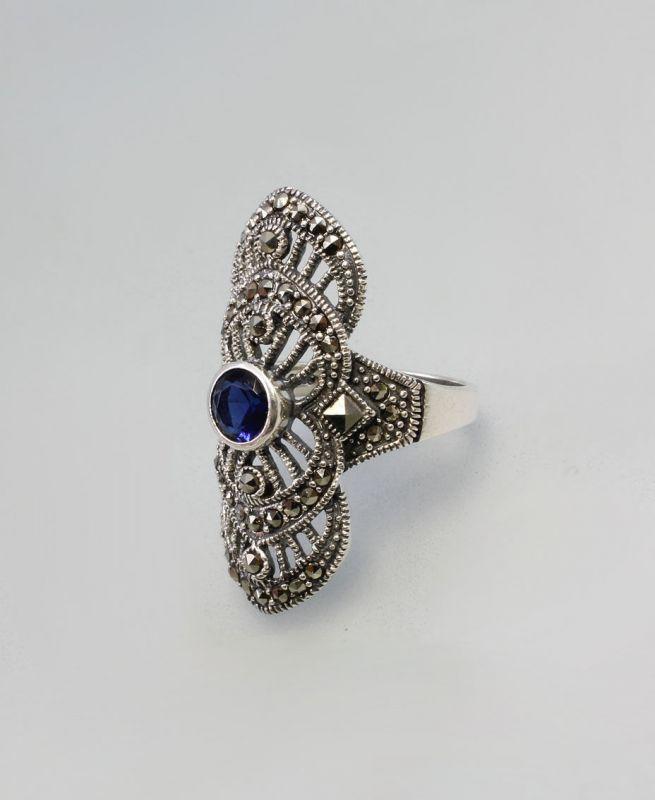 925er Silber Ring mit blauem Zirkonia Neu Gr. 55  9907091 0