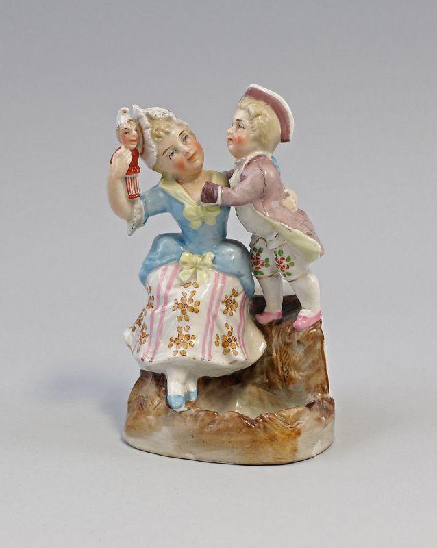 99840406 Zündholz-Dose Schachtel Porzellan Mutter und Sohn um 1900 handbemalt 0