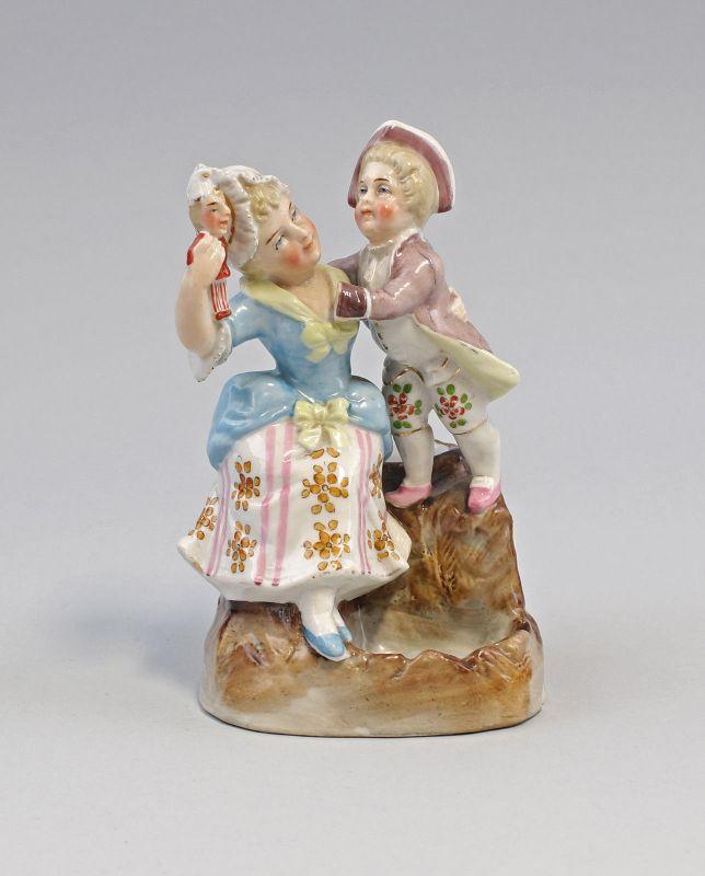 99840406 Zündholz-Dose Schachtel Porzellan Mutter und Sohn um 1900 handbemalt 1