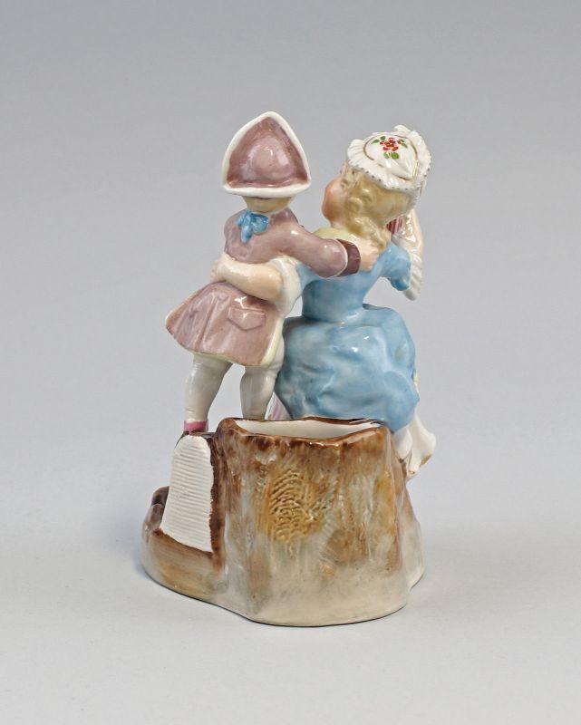 99840406 Zündholz-Dose Schachtel Porzellan Mutter und Sohn um 1900 handbemalt 2