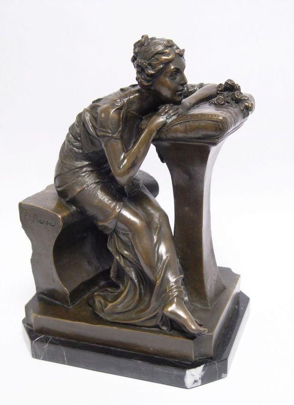 Bronze Skulptur Dame Mädchen sitzend neu 9973343-dssp