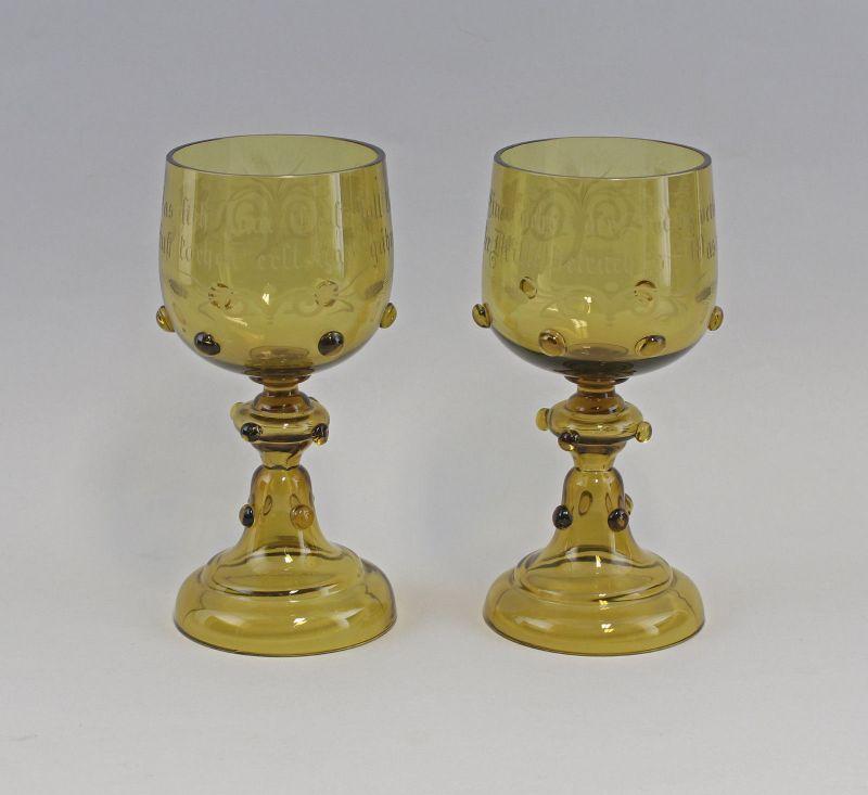 99835365 Paar Glas Pokale Historismus handgeschliffen 19. Jh.
