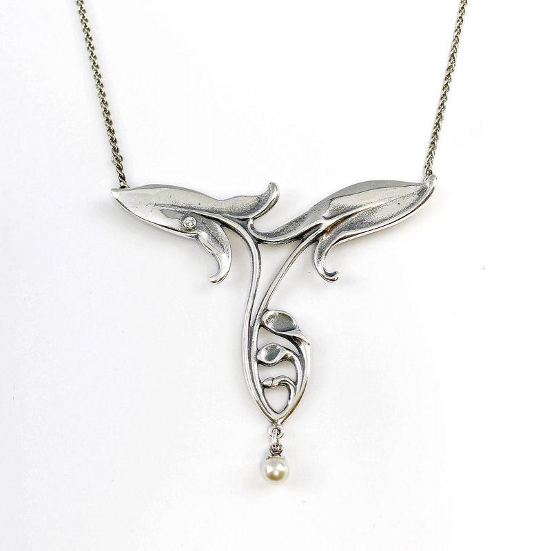 925er Silber Jugendstil Collier mit Perle u. Swarovski-Steinen 9901127