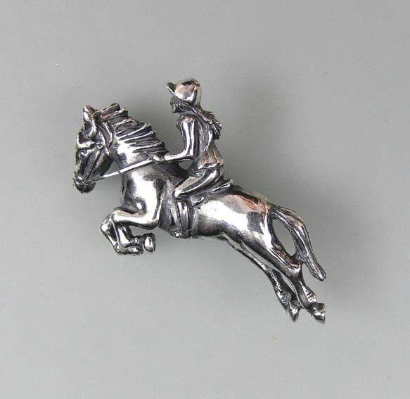 925er Silber Brosche Pferd mit Reiterin 9901052