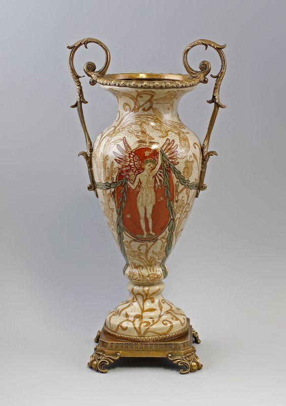 Amphorenvase mit römischem Motiv Keramik Bronze 9937859