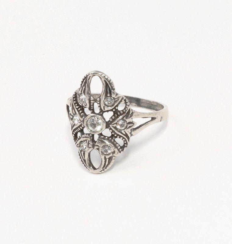 925er Silber Ring mit Swarovski-Steinen Gr. 59 9901392