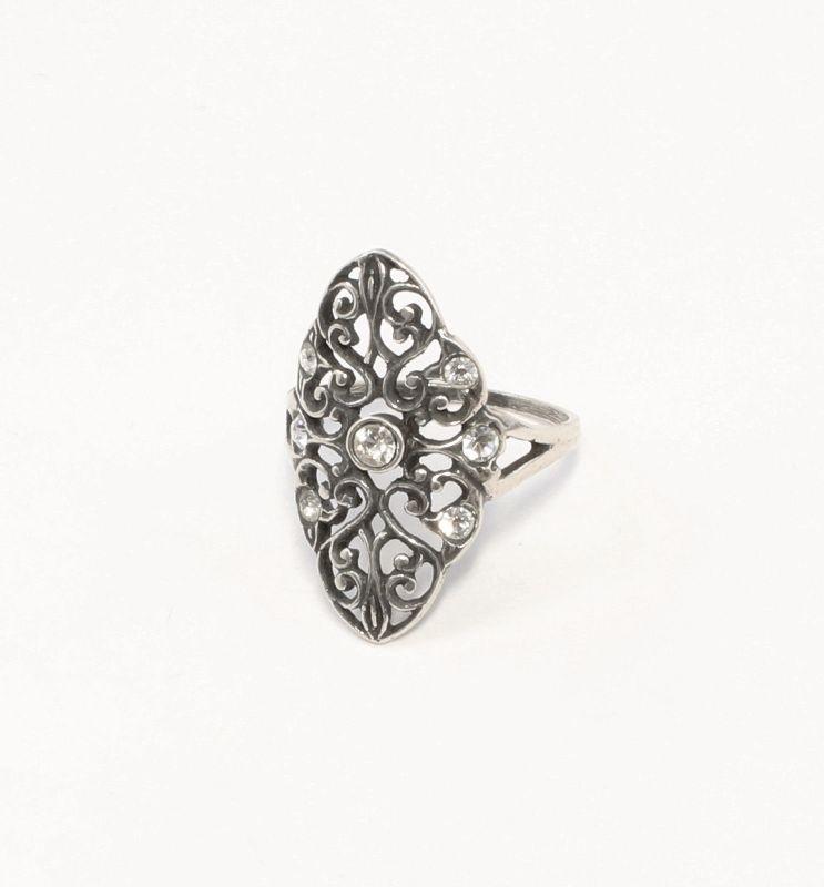 925er Silber Ring mit Swarovski-Steinen Gr. 52 gewundene Form 9901393
