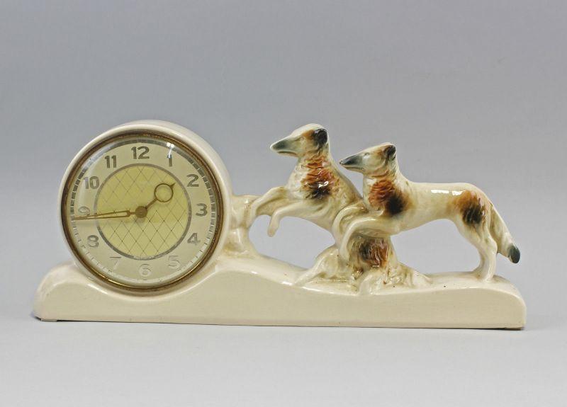 Keramik-Uhr Windhunde um 1920/40 99820012
