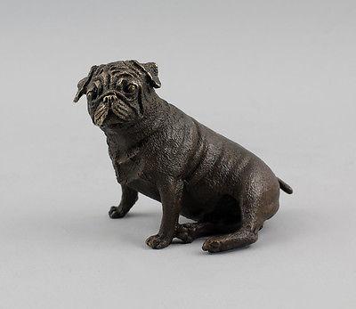 9937470 Bronze-Bulldogge sitzend Skulptur brüniert 12x5x9cm