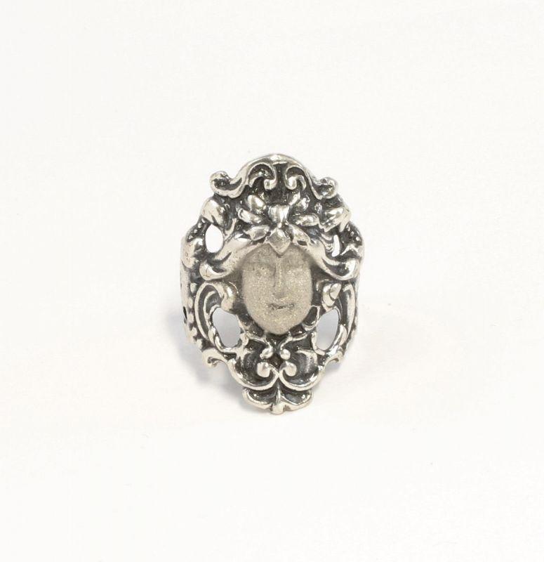 925er Silber Jugendstil-Ring Gesicht / Antlitz Gr. 55 floral 9901426
