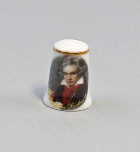 9911063 Porzellan Fingerhut Beethoven Portrait Reutter H3cm