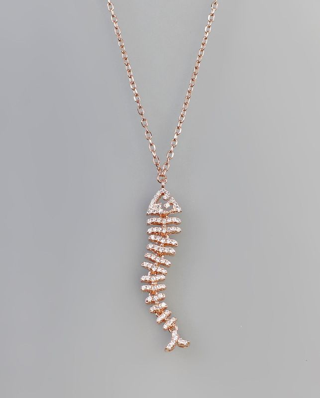 925er Silber vergoldet modisches Collier Fisch  9907222
