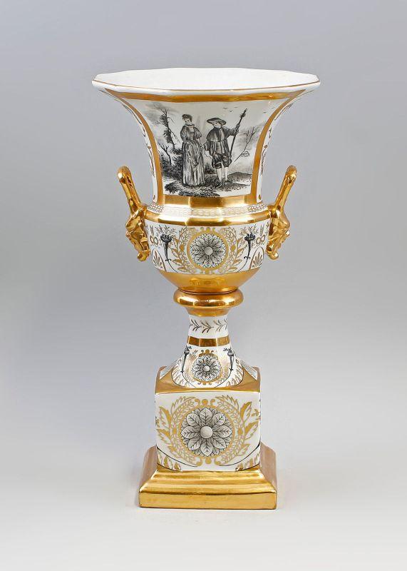 9937564-dss Porzellan Amphore Amphoren-Vase Pokal Klassizistisch H33cm