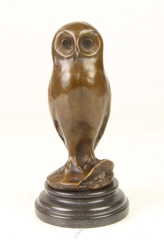 9973255-ds Bronze-Skulptur Figur stilisierte junge Eule 12x12x24cm