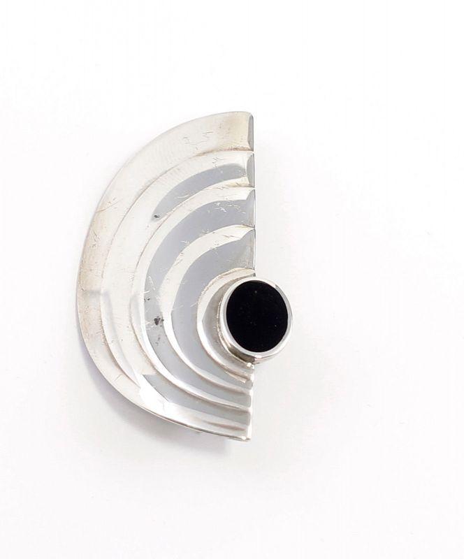 925er Silber geometrische Art déco Brosche mit Onyx 9901595