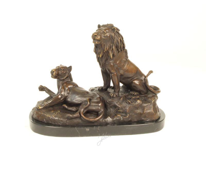 Antiquitäten & Kunst Figur Löwe Bronze Metallobjekte