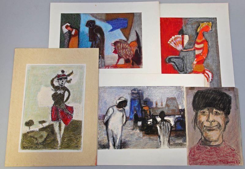 8060207 Konvolut 5 Gouache Kreide Zeichnungen Krzywicki Expressionismus